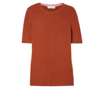 Woman Taylor Button-detailed Ribbed Cashmere Sweater Brick