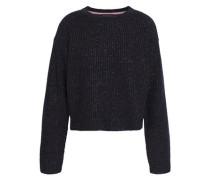 Metallic Ribbed Merino Wool-blend Sweater Midnight Blue