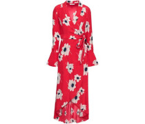 Gowin Floral-print Washed-silk Midi Wrap Dress Red