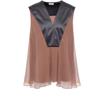 Silk-satin And Chiffon Blouse Gunmetal