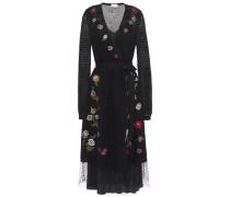 Woman Wrap-effect Embroidered Open-knit Wool Midi Dress Black