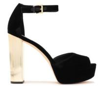 Velvet Platform Sandals Black