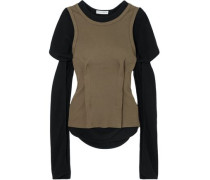 Layered Cotton-jersey Top Army Green