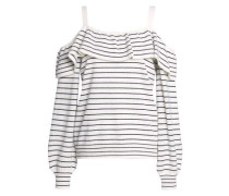 Delbin B Cold-shoulder Striped Wool And Cashmere-blend Sweater Off-white