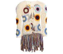 Fringed Crocheted Cotton Jacket Ivory