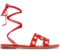 Fiou Cutout Studded Suede Sandals Tomato Red