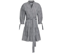 Striped Cotton-blend Jacquard Mini Dress Midnight Blue