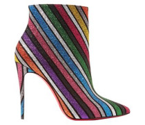 Glittered Striped Leather Ankle Boots Multicolor
