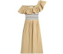 One-shoulder striped knit-paneled ruffled cotton-poplin midi dress