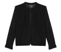 Laser-cut suede-paneled linen jacket