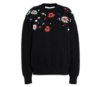 Floral-appliquéd knitted sweater