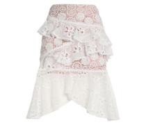 Nahara asymmetric ruffled macramé lace skirt