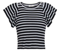 Striped Ribbed Merino Wool-blend Top Midnight Blue