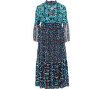 Gathered Printed Jacquard And Georgette Midi Dress Blue