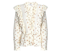 Crochet-trimmed floral-print cotton-gauze blouse