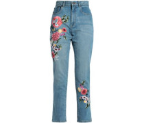 Embroidered High-rise Straight-leg Jeans Mid Denim  5