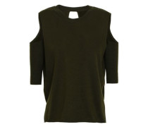 Cold-shoulder Wrap-effect Cutout Merino Wool Sweater Dark Green