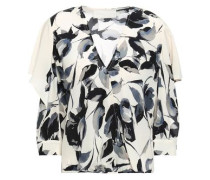 Printed Silk Crepe De Chine Blouse Off-white Size 0