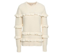 Ruffle-trimmed Knitted Sweater Ivory