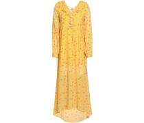 Ruffle-trimmed Floral-print Crepe De Chine Midi Dress Marigold