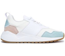 Color-block Suede, Leather And Scuba Sneakers Sky Blue