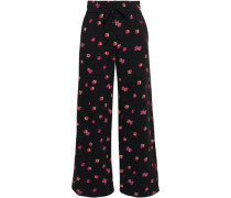 Floriana Floral-print Cotton-fleece Wide-leg Pants Black