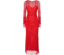 Ruched corded lace maxi dress
