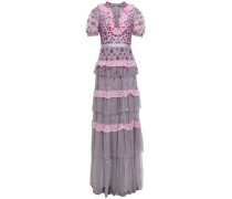 Lace-trimmed Tiered Embellished Tulle Gown Lavender