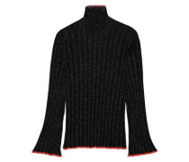 Editore Metallic Ribbed-knit Turtleneck Sweater Black