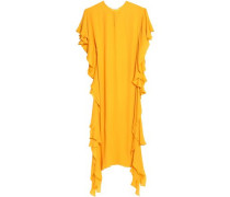 Draped ruffled silk crepe de chine gown