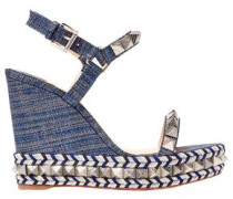 Pyraclou 110 Spiked Lamé Wedge Sandals Mid Denim