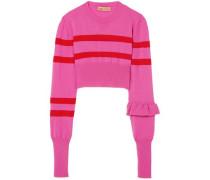 Cropped Striped Merino Wool Top Pink
