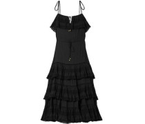 Woman Juniper Pintucked Cotton-voile Midi Dress Black