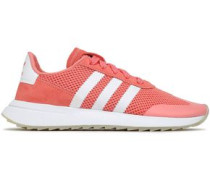 Woman Flb Suede-trimmed Mesh Sneakers Coral