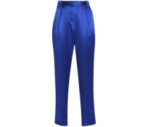 Pleated silk-satin tapered pants