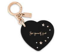 Studded Printed Leather Keychain Black Size --