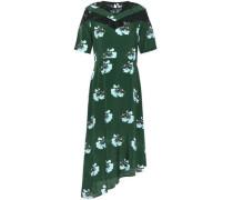 Asymmetric Lace-trimmed Floral-print Crepe De Chine Dress Dark Green