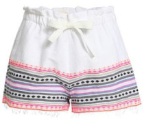 Fringe-trimmed Embroidered Cotton-blend Shorts Pink