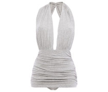 Woman Ruched Stretch-jersey Halterneck Bodysuit Light Gray