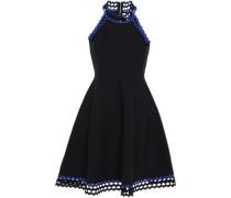 Flared Rick Rack-trimmed Stretch-knit Mini Dress Black