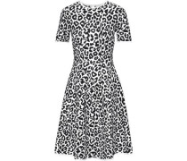 Woman Flared Leopard-jacquard Dress White