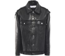Else Fringe-trimmed Leather Jacket Black