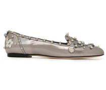 Embellished metallic leather loafers