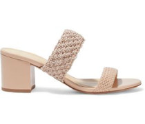 Woman Lanny Crochet And Basketweave Leather Mules Blush