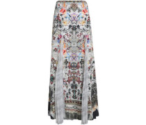 Raise Your Glass Printed Paneled Silk-voile And Crepe De Chine Maxi Skirt Off-white