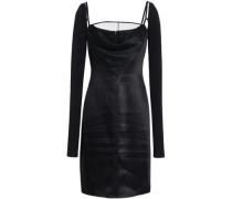 Cutout Satin And Stretch-jersey Mini Dress Black