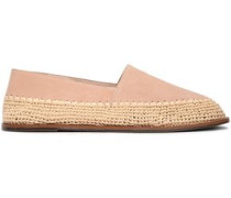 Suede And Raffia Slippers Sand