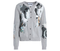Appliquéd Mélange Stretch-knit Cardigan Light Gray