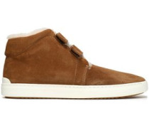 Suede And Shearling High-top Sneakers Camel