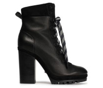 Lace-up Suede-trimmed Leather Ankle Boots Black